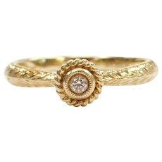 14k Gold .05 ctw Diamond Halo Ring ~ Engagement / Stacking