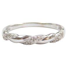 .05 ctw Diamond Wedding Band or Stacking Ring 10k White Gold