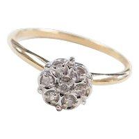 Vintage 10k Gold .05 ctw Diamond Cluster / Illusion Top Ring ~ Two-Tone