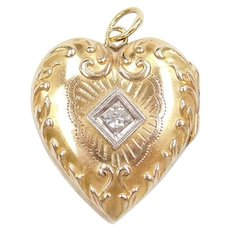 10k Gold .05 Carat Diamond Heart Locket