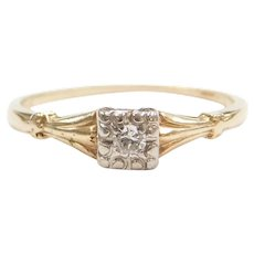 1940's .06 Carat Diamond Solitaire Engagement Ring 14k Gold Two-Tone