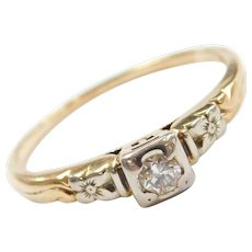 14k & 18k Gold .07 Carat Diamond Engagement Ring with Floral Detail Two-Tone Circa 1940's