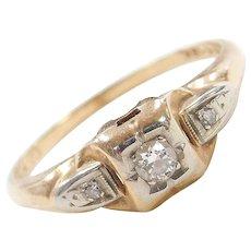 Art Deco 14k & 18k Gold Two-Tone .08 ctw Diamond Engagement Ring