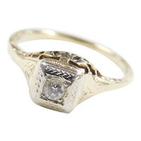 Art Deco 14k Gold Two-Tone .08 Carat Diamond Engagement Ring