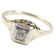 Art Deco 14k Gold Two-Tone .08 Carat Diamond Engagement Ring