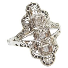 18k White Gold Art Deco .09 ctw Diamond Filigree Ring