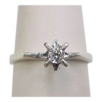 Vintage 18k White Gold .10 Carat Diamond Solitaire Ring