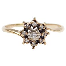 .10 ctw Diamond Flower Cluster Ring with Illusion Head 10k Gold