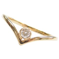 .11 carat Diamond Bohemian Style V Chevron Ring 14k Gold