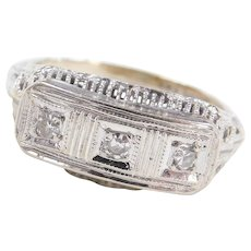 Art Deco 14k White Gold FIligree .12 ctw Diamond Ring