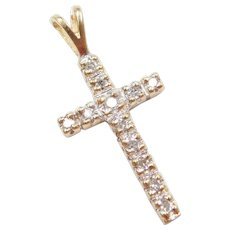 .12 ctw Diamond Cross Pendant 14k Gold