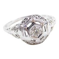 Art Deco 14k White Gold .14 Carat Diamond Filigree Engagement Ring