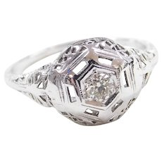 Art Deco 14k White Gold .14 Carat Diamond Filigree Engagement Ring