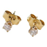 Vintage 14k Gold .14 ctw Diamond Stud Earrings