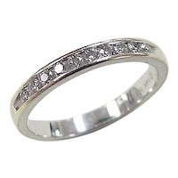 Vintage 14k White Gold .15 ctw Diamond Band