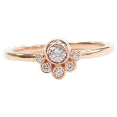.17 ctw Diamond CUTE Bohemian Stacking Ring 14k Rose Gold