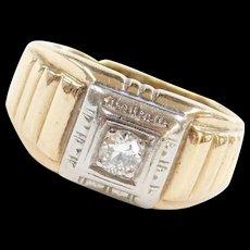 Vintage 14k Gold Men's Two-Tone .18 Carat Diamond Ring