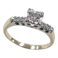 Vintage 14k Gold Two-Tone .18 ctw Diamond Engagement Ring
