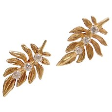 .18 ctw Diamond Leaf Stud Earrings 14k Gold