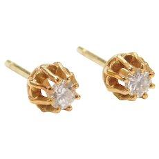 .18 ctw Diamond Buttercup Stud Earrings 18k Gold