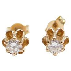 .18 ctw Diamond Buttercup Stud Earrings 14k Gold