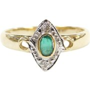 Vintage 14k Gold .18 ctw Natural Emerald and Diamond Ring ~ Two-Tone