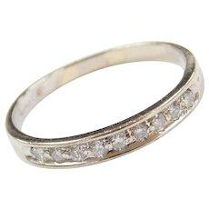 Vintage 14k White Gold .18 ctw Diamond Wedding Band Ring