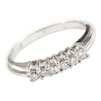 Vintage 14k White Gold .18 ctw Diamond Wedding Band Ring