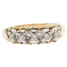 .20 ctw Diamond Illusion Set Wedding Band Ring 14k Gold Two-Tone