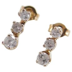 Vintage 14k Gold .20 ctw Diamond Earrings