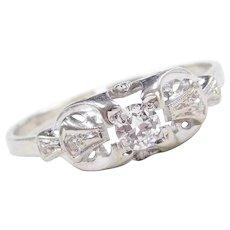 Art Deco 18k White Gold .21 ctw Diamond Engagement Ring