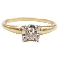 Art Deco .23 Carat Champagne Diamond Engagement Ring 14k & 18k Gold
