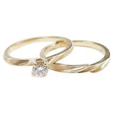Vintage 14k Gold .23 Carat Diamond Wedding Set ~ Engagement Ring and Wedding Band