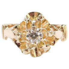 Edwardian .23 Carat Diamond Buttercup Ring 14k Gold