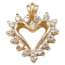 .24 ctw Diamond 14k Gold Heart Pendant