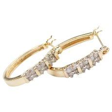 .24 ctw Diamond Hoop Earrings 14k Gold