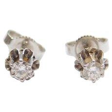 .24 ctw Diamond Stud Earrings 14k White Gold Buttercup Settings