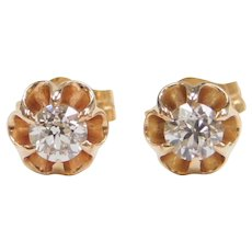 Edwardian .24 ctw Diamond Buttercup Stud Earrings 14k Gold