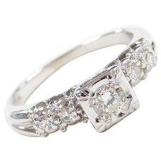 Art Deco 14k White Gold .26 ctw Diamond Engagement Ring