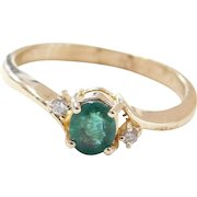 Vintage 14k Gold .27 ctw Natural Emerald and Diamond Ring