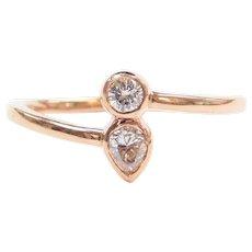 .28 ctw Diamond Bohemian Style Bypass Ring 14k Rose Gold