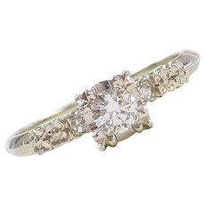 Art Deco 18k White Gold .29 ctw Diamond Engagement Ring with Floral Detail and Illusion Head