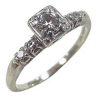 Art Deco 18k White Gold .29 ctw Engagement Ring