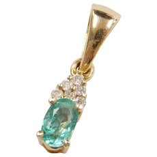 Vintage .29 ctw Natural Emerald and Diamond Pendant 14k Gold