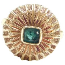 Edwardian 18k Gold .30 Carat Natural Emerald Ring