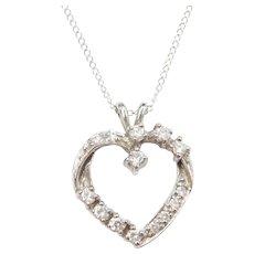 "18"" 14k White Gold .30 ctw Diamond Heart Necklace"