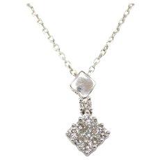".30 ctw Diamond Pendant on Cable Chain 14k White Gold 16 1/2"""