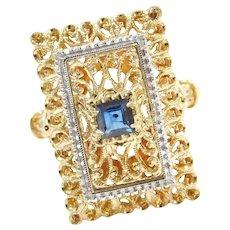 Ornate Sapphire Filigree Ring 18K Two-Tone, Designer Toliro