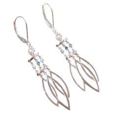 .32 ctw White and Blue Diamond Long Dangle Earrings 14k White Gold