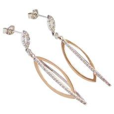 Flirty .32 ctw Diamond White and Rose 14k Gold Earrings